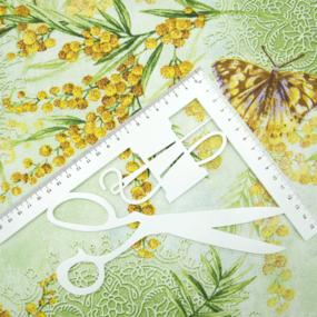 Ткань на отрез рогожка 150 см 206061Р Дары весны 1 зел. фото
