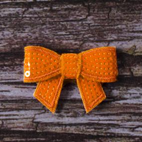 Термоаппликация ТАП С1 бантик оранжевый 4,5*3см фото