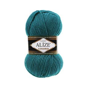 Пряжа ALIZE LANAGOLD 640-павлиновая зелень (49% шерсть 51% акрил) фото