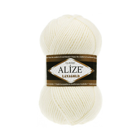 Пряжа ALIZE LANAGOLD 62-молочный (49% шерсть 51% акрил) фото