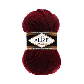 Пряжа ALIZE LANAGOLD 57-бордовый (49% шерсть 51% акрил) фото