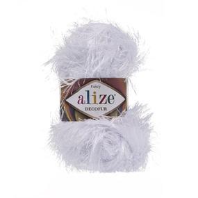 Пряжа ALIZE DECOFUR 55-белый (100% полиэстер) фото
