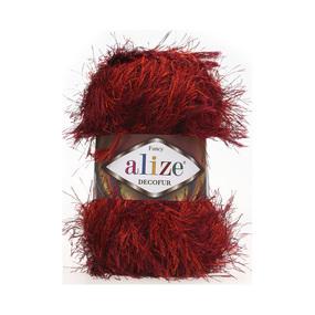 Пряжа ALIZE DECOFUR 1373-красно-бордовый (100% полиэстер) фото