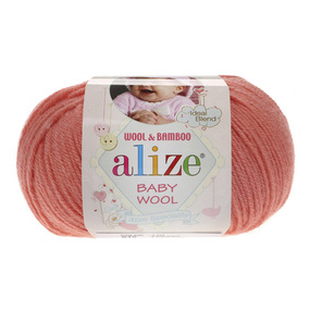 Пряжа ALIZE BABY WOOL 619-коралловый (40% шерсть 20% бамбук 40% акрил) фото