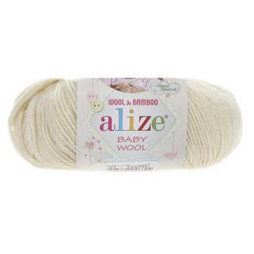 Пряжа ALIZE BABY WOOL 01-кремовый (40% шерсть 20% бамбук 40% акрил) фото