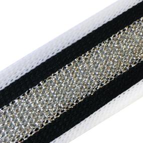 Лампасы №89 черно белые серебро люрекс 2 см уп 10 м фото