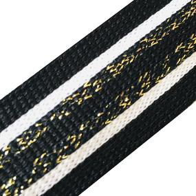 Лампасы №94 черный белый люрекс золото 2,5 см уп 10 м фото