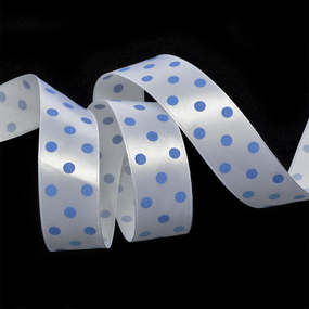 Лента атласная горох ширина 25 мм (27,4 м) цвет 31102925 белый-голубой фото