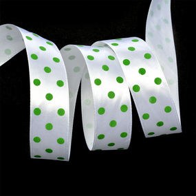 Лента атласная горох ширина 25 мм (27,4 м) цвет 57902925 белый-зеленый фото