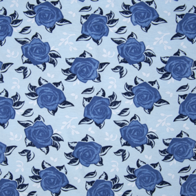 Ткань на отрез кулирка 3388-V2 Розы цвет светло-голубой фото