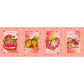 Вафельное полотно набивное 180 см 297/1 Сладкая парочка цвет роза фото