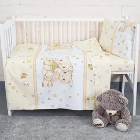 Постельное белье в детскую кроватку из бязи 8071/1 Друзья цвет бежевый фото