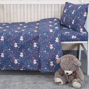 Постельное белье в детскую кроватку из бязи 7247/2 Лисички цвет синий фото