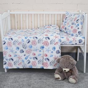 Постельное белье в детскую кроватку из бязи 8123 Ракушки фото
