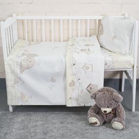Постельное белье в детскую кроватку из бязи 8077 Птенчики цвет бежевый фото