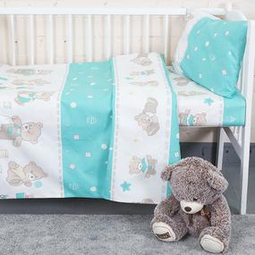 Постельное белье в детскую кроватку из бязи 8073/5 Мишки мята фото
