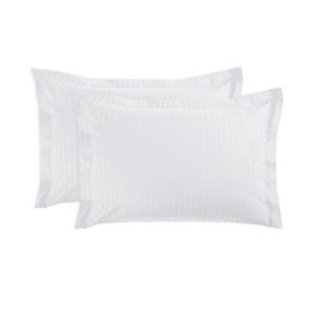 Наволочка страйп-сатин с ушками (5 см) на молнии цвет белый 50/70 фото