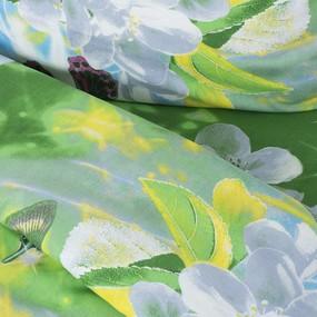 Постельное белье бязь эконом 1407/1 Волшебный сад зеленый 1.5 сп с 1-ой нав. 70/70 фото