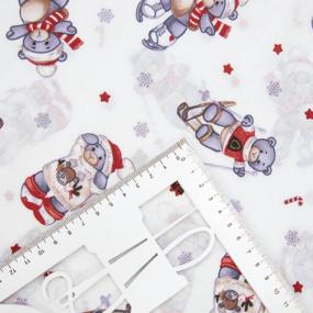 Ткань на отрез поплин 150 см 3929/1 Новогодние мишки фото
