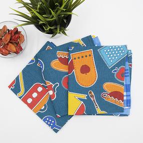 Набор вафельных полотенец 3 шт 35/75 см 431/1 Кухня цвет синий фото