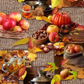 Ткань на отрез вафельное полотно 50 см 5607/1 Осень фото