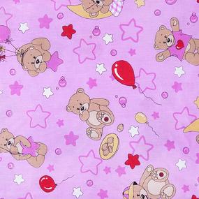 Мерный лоскут бязь 120 гр/м2 детская 150 см 350/3 Мишки розовый 2,2 м фото