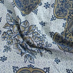 Покрывало гобелен Цветы синий 147/210 фото