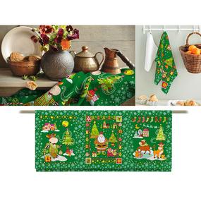 Полотно вафельное 150 см набивное арт 149 Тейково рис 35041 вид 3 Новогодний бычок фото