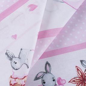 Ткань на отрез бязь 120 гр/м2 детская 150 см 9412 Зайчата цвет розовый фото