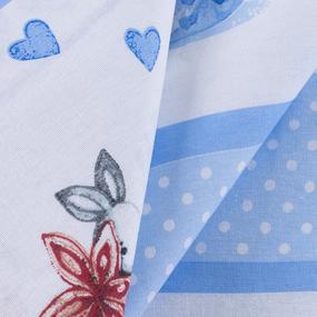 Ткань на отрез бязь 120 гр/м2 детская 150 см 9412 Зайчата цвет голубой фото
