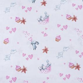 Ткань на отрез бязь 120 гр/м2 детская 150 см 9507 Зайчата цвет розовый (комп.) фото