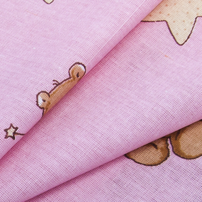 Мерный лоскут бязь 120 гр/м2 детская 150 см 7176 Мишка со звездой розовый 60 м фото