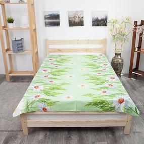 Простынь бязь ГОСТ 1480/1 Ромашки цвет зеленый 1.5 сп фото