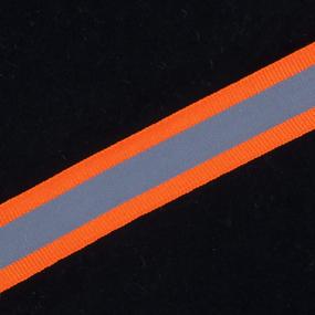 Тесьма со светоотражающей лентой 2,5см оранжевый уп 5 м фото