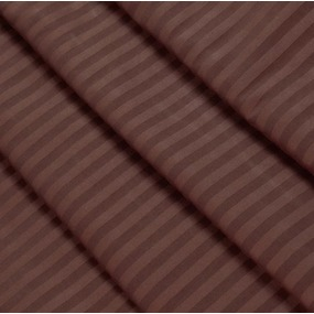 Ткань на отрез страйп сатин полоса 1х1 см 220 см 120 гр/м2 цвет 896/2 шоколад фото