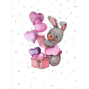 Ткань на отрез перкаль детский 112/150 см 11 Зайка-модница с воздушными шариками фото