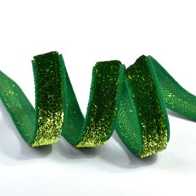 Лента Бархотка с3722 рис.9252 шир. 10мм цв.21 салатовый/зеленый уп.10 м фото