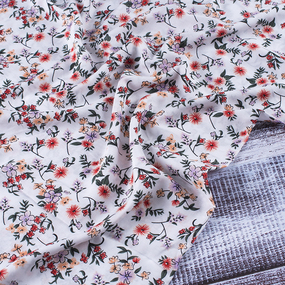 Ткань на отрез штапель 145 см 60025 Красные цветы на белом фото