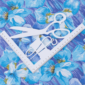 Ткань на отрез фланель 80 см 19052 Ирисы цвет голубой фото