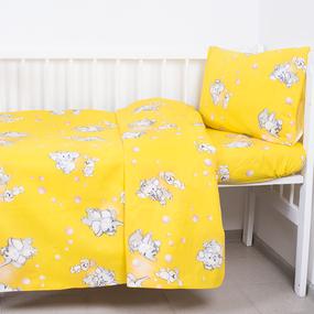 Постельное белье в детскую кроватку из бязи 1285/5 Мамонтенок желтый фото