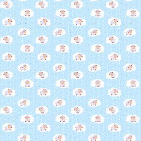 Ткань на отрез фланель 90 см 18784/2 Овечки цвет голубой фото