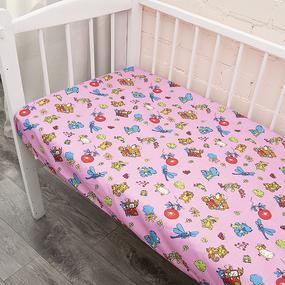 Простынь бязь ГОСТ детская 383/3 Зоопарк цвет розовый 110/150 см фото