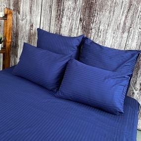 Ткань на отрез страйп сатин полоса 1х1 см 220 см 120 гр/м2 цвет 591/2 темно-синий фото