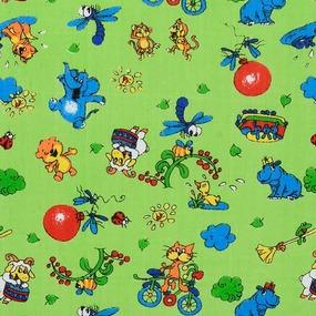 Маломеры бязь ГОСТ детская 150 см 42/2 Зоопарк цвет зелёный 9.55 м фото