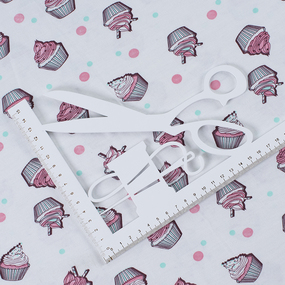 Ткань на отрез кулирка Кексики 3253-V1 цвет молочный фото