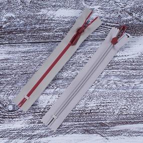 Молния водостойкая №7В4 полоса блеск н/р 18см серый 225/красный 171 фото