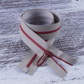Молния водостойкая №7В4 полоса блеск разъем 60см серый 225/красный 171 фото