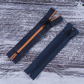 Молния водостойкая №7В5 полоса матовый н/р 13см темно синий 058/оранж 006 фото