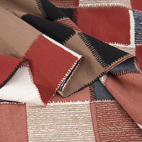 Ткань на отрез супер софт 52646 Квадрат цвет кирпичный фото