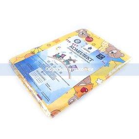 Постельное белье в детскую кроватку 4098/1 Облачко желтый с простыней на резинке фото